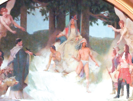 This painting: Discoverers and the Civilizers led to the Source of the Mississippi is in the Minnesota Senate Chambers.