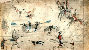 An example of Kiowa ledger art (1874) possibly showing a battle from the Red River wars. Courtesy: Wikimedia Commons