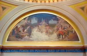 "Senate mural: ""The Discoverers and Civilizers Led to the Source of the Mississippi,"" one of the more disturbing paintings for its image of forced conversion."