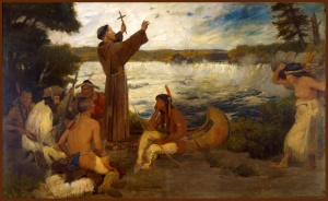 A painting of Father Hennepin at the Falls of St. Anthony hangs in the Minnesota Governor's Reception Room.