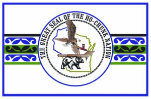 The current day tribal flag of the Ho-Chunk in their homeland, Wisconsin.