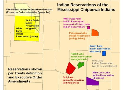 Proposed Reservations for the Mississippi Band of Chippewa in the 1955 Treaty. Courtesy: Wikimedia Commons