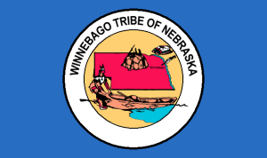 The tribal flag of the Winnebago Tribe in Nebraska