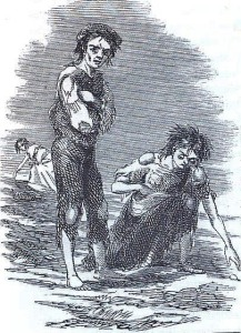 An 1847 image from the Illustrated London News shows a starving boy and girl in Cork in search of a potato.