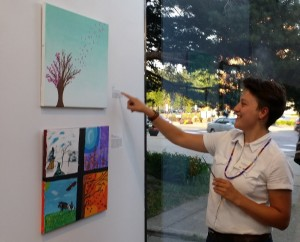 Taylor Payer checking out the art.