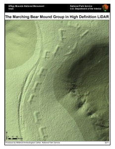LiDAR image of the Marching Bear Mound Group at Effigy Mounds National Monument