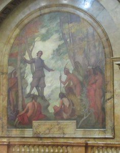 Puritan Preacher John Eliot converts the local Native Americans.