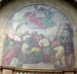 Massachusetts State House mural depicting the Mayflower crossing, complete with angelic images of Manifest destiny.