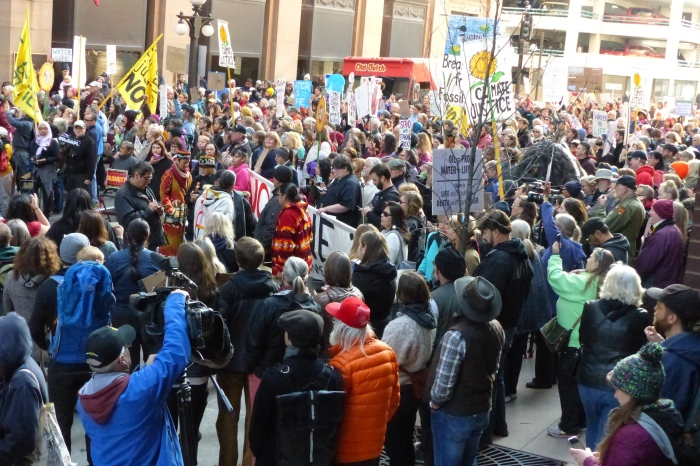 Rally in front of the U.S. Army Corps of Engineers headquarters in downtown St. Paul
