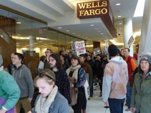 Some continued to Wells Fargo to protest the banks financial involvement in the project.