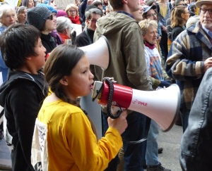 """Native youth helped lead the call and response: """"Mni Wiconi -- Water is Life!"""""""